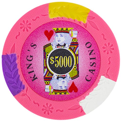 Brybelly King's Casino Premium Poker Chip 14-gram Heavyweight Clay Composite - Pack of 50 ($5000 Pink) (14g Chip King Poker Clay)