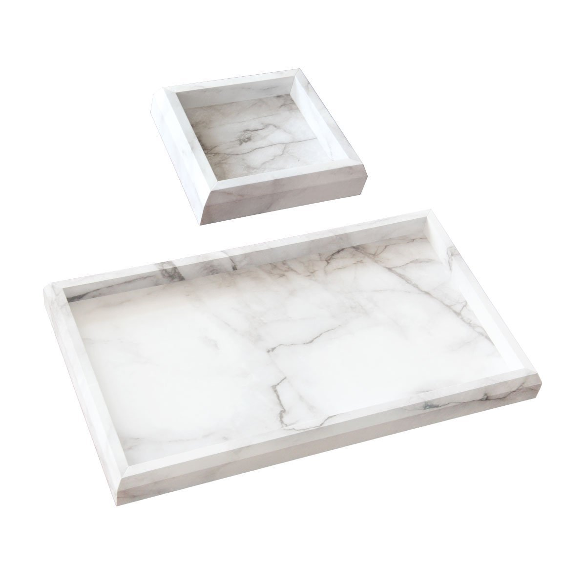 Roomfitters Marble Print Vanity Tray Set, Best Bathroom Catchall Trays for Jewelry Perfume, Upgraded Version Water Resistant, Anti-Scratch by Roomfitters (Image #2)