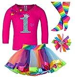 Bubblegum Divas Baby Girls' 1st Birthday Shirt Rainbow Tutu Outfit 12 months