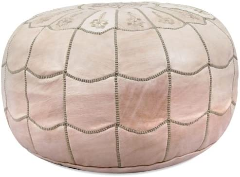 IKRAM DESIGN Moroccan Leather Pouf with Arch Design, Natural, 22-Inch by 14-Inch