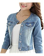 GOT YI Women's Round Neck Stretch Denim Jacket 3/4 Sleeve Light Blue Jean Coat