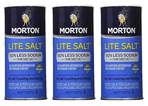 Morton Salt Lite Salt, Less Sodium, 11 oz (Pack of 3)