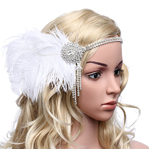 BABEYOND Women's Gorgeous Party Prom Flapper Headbands 1920s Feather Headpiece Crystal Headband (Party Headpiece)