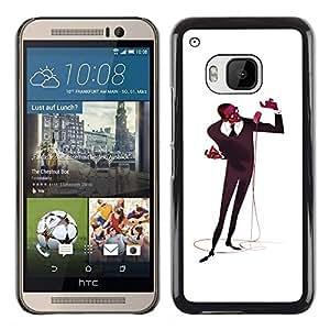 YiPhone /// Prima de resorte delgada de la cubierta del caso de Shell Armor - Microphone Singer Man Black Music Art - HTC One M9