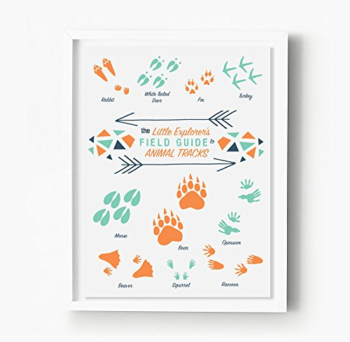 Tribal Nursery Art Print - Tribal Wall Art - Animal Tracks, Boho Nursery Poster, Childrenn Wall Décor - Kid'S Room - New Mom Mother Mommy Gift, Adventure, Be Brave, Mint, Teal - Animal Tracks Wall Art