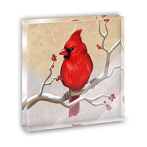 Cardinal in Winter Acrylic Office Mini Desk Plaque Ornament Paperweight