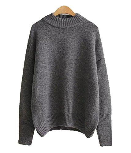 Qinni-shop Women's Crew Neck Ribbed Trim Drop Shoulder Knit Basic Sweater (Grey, Free Size)