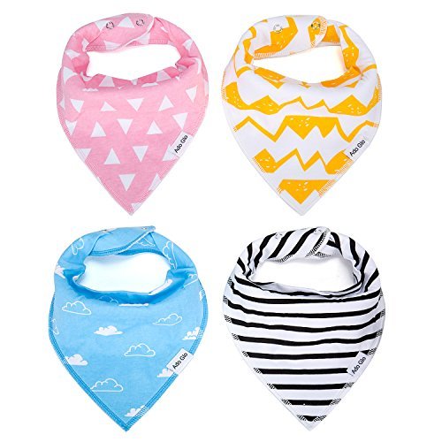 Baby Bandana Bib Set - 100% Organic Cotton Bibs - Extra Absorbent Teething & Drool Bibs with Adjustable Snaps | 4-Pack Unisex Gift Set with a Premium Pacifier Clip for Baby Girl & Boy by Ado Glo