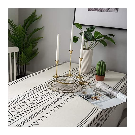 "Lahome Boho Style Geometric Tablecloth - Cotton Linen Table Cover Kitchen Dining Room Restaurant Party Decoration (White, Round - 60"") - DRESS UP YOUR DINNER TABLE - Lahome Bohemian tablecloth measures 60"" (150 cm), is heavy weight, eco-friendly, and long-life used. Fits tables that seat 4 people HEALTHY AND ECO-FRIENDLY - Cotton linen material gives you comfortable feeling and has strong anti-static ability, soft and breathable, good for your health EASY TO CARE FOR - Machine washable in cold water. Tumble dry low heat or air dry; Warm ironing if needed. No bleaching - tablecloths, kitchen-dining-room-table-linens, kitchen-dining-room - 51yEto x3IL. SS570  -"