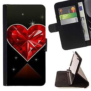 ForSamsung Galaxy S3 MINI i8190 (NOT S3) Case , Corazón del diamante del amor- la tarjeta de Crédito Slots PU Funda de cuero Monedero caso cubierta de piel