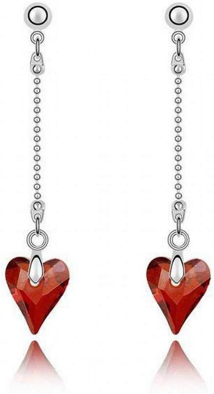 O&YQ Pendientes de Cristal, Corazón, Pendientes Largos, Joyas de Alta Gama, Cristal Rojo Roca 4854