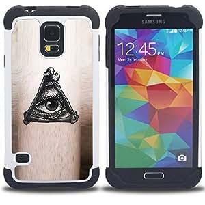"""SAMSUNG Galaxy S5 V / i9600 / SM-G900 - 3 en 1 impreso colorido de Altas Prestaciones PC Funda chaqueta Negro cubierta gel silicona suave (Misteriosa Ojo Negro Tinta gratuitas de Mason"""")"""