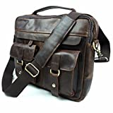 Naladoo Men's Buffalo Leather Messenger Bag New Vintage Top-Handle Bag Vinta (Brown)