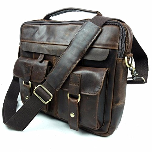 Naladoo Men's Buffalo Leather Messenger Bag New Vintage Top-Handle Bag Vinta (Brown) by Naladoo