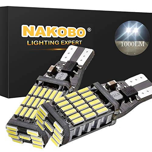 Nakobo 921 912 906 LED Bulb 1000 Lumens 45-EX Chipsets Error Free 902 904 T15 W16W LED Bulbs for Back Up Lights Reverse Lights, Xenon White 6000K