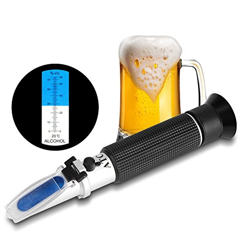 Handheld Wine Refractometer Professional Handheld Alcohol Tester with ATC 0-80% Measuring Range Refractometer Wine Tester Meter Instrument with Case for Grape Wine Making Alcohol Test Homebrew Tool
