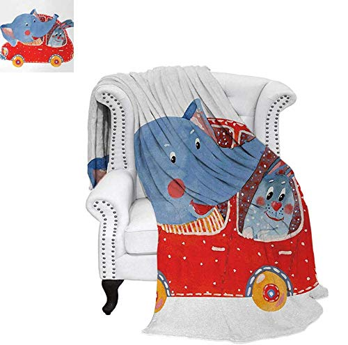 Joydad Cartoon Beach Blanket Watercolor Sketch of Young Blushed Elephant and Hare in Small Car Friend Travel Weighted Blanket 50 x 30 inch Blue Red White