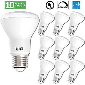 10 PACK - BR20 LED 7 WATT (50W Equivalent), 3000K Warm White, DIMMABLE, Indoor/Outdoor Lighting, 550 Lumens, Flood Light- UL AND ENERGY STAR LISTED