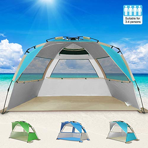 G4Free Easy Set up Beach Tent Deluxe XL, Portable 4 Person Pop up Sun Shelter UPF 50 UV Protection Large Family Beach Shade