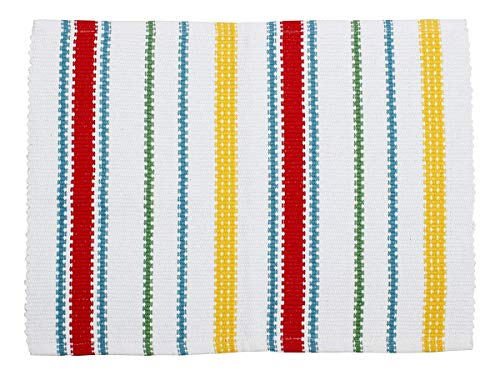 storeindya Placemats Kitchen Dining Table Set of 6 Tablemats Hand Woven Cotton Blue Yellow Stripes Kitchen Dining Decor Accessories (Design 6)