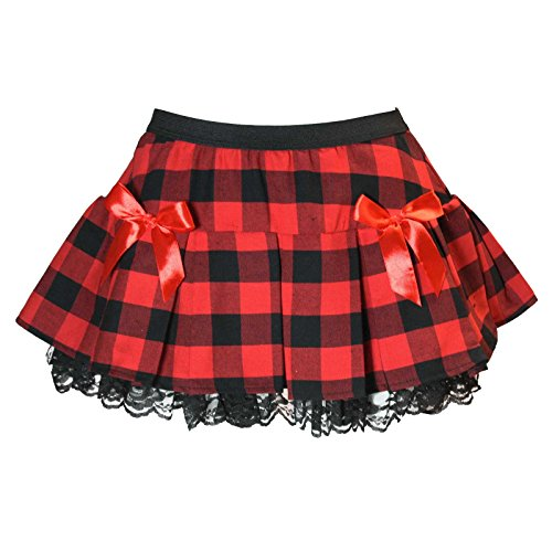 Costume Scottish Golf (Buffalo Checkered Plaid Schoolgirl Costume Skirt with Bows, Red)