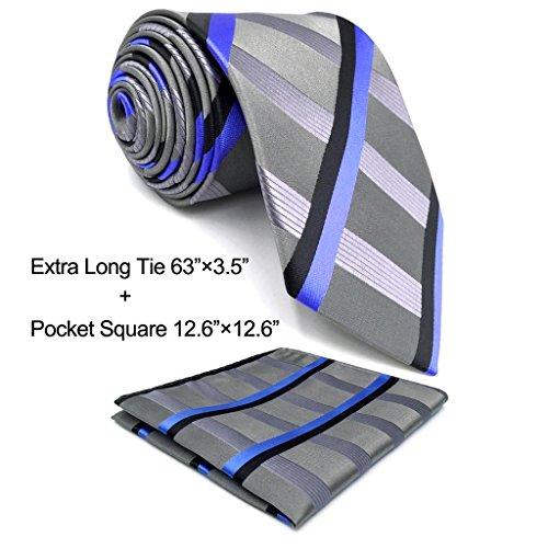 Shlax&Wing Mens Necktie Stripes Light Gery Blue Ties Silk