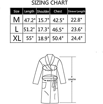 Amazon.com: CHOICE99 bata de baño para hombre Kimono Waffle ...