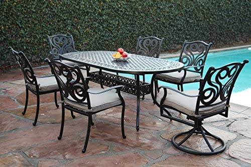 CBM Outdoor Patio Furniture 7 Piece G Aluminum Dining Set with 2 Swivel Chairs CBM1290