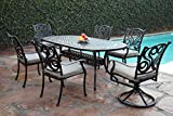CBM Outdoor Patio Furniture 7 Piece G Aluminum Dining Set with 2 Swivel Chairs CBM1290 For Sale