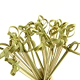 BambooMN 4.5'' Bamboo Green Knotted Knot Skewers Picks for Cocktails and Hors' D'oeuvres Party Supplies, 1000 Pieces