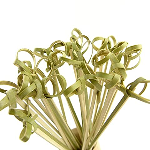 Bamboo Knot Picks for Cocktails and Hors' D'oeuvres in Green size 4.5