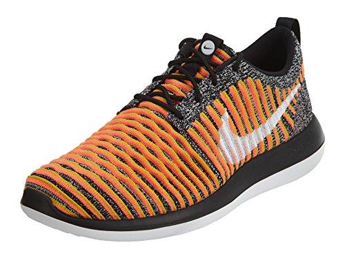 Nike Womens Roshe Two Flyknit 365 Sneaker Alta Moda Alla Caviglia Nero / Bianco-brillante Piombo Mango-oro