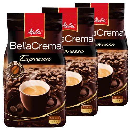 Melitta Coffee BellaCrema Espresso, Whole Beans, Pack of 3, 3 x 1000g