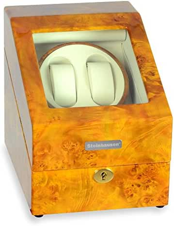 Steinhausen Heritage SW2003 Double Watch Winder With Storage For 3 Watches, Ultra Quiet Motor and Multiple Modes (Burlwood)