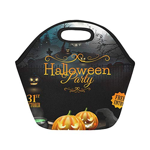 Insulated Neoprene Lunch Bag Halloween Party Flyer With Pumpkins Hat Pot And Large Size Reusable Thermal Thick Lunch Tote Bags For Lunch Boxes For Outdoors,work, Office, School]()