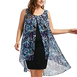 Euone Dress Clearance Women Plus Size Chiffon Printed Insert Layered High Low Sleeveless Dress