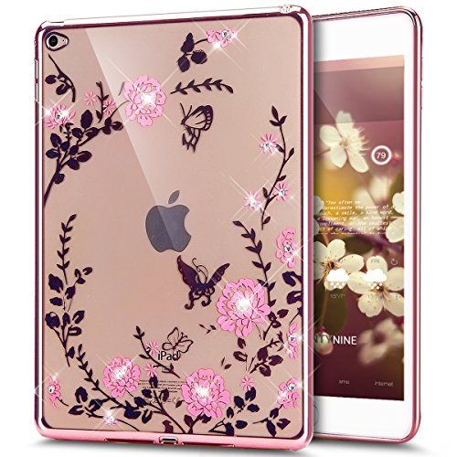 iPad Air 2 Case,ikasus Pink Butterfly Floral Flower Bling Crystal Rhinestone Diamonds Clear Rubber Rose Plating Frame Soft TPU Silicone Protective Bumper Case Cover for iPad Air 2 /iPad 6 (9.7 Inch)
