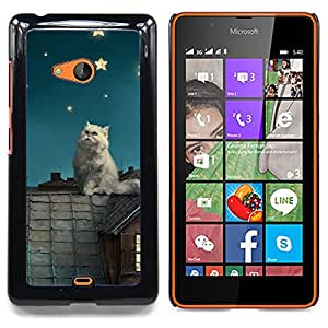 - White Cat Stars/ Hard Snap On Cell Phone Case Cover - Cao - For Microsoft Nokia Lumia 540 N540