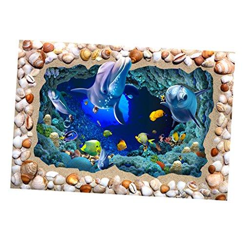 Blesiya Fish Tank 3D Digital Printing Single-sided Self-adhesive Background Sticker - Seashell ()