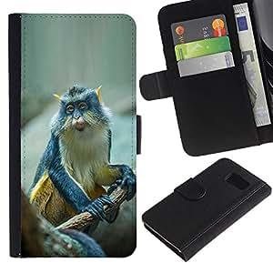 A-type (Cute Small Ape Monkey Exotic Tropical) Colorida Impresión Funda Cuero Monedero Caja Bolsa Cubierta Caja Piel Card Slots Para Samsung Galaxy S6