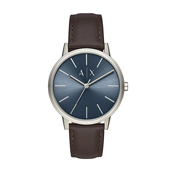 Amazon.com: Armani Exchange Mens Cayde Stainless Steel Analog-Quartz Watch with Leather Strap, Brown, 20 (Model: AX2704: Armani Exchange: Watches