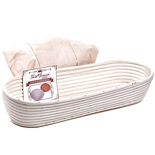 Premium Long Oval Banneton Basket with Liner - (16.9in x 6.3in x 3.2in) Perfect Oblong Brotform Proofing Basket for Making Beautiful Bread