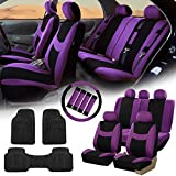 FH GROUP FH-FB030115 Light & Breezy Cloth Seat Covers, Airbag & Split Ready Purple / Black Combo Set: Steering Wheel Cover, Seat Belt Pads and F11306 Vinyl Floor Mats-Fit Most Car, Truck, Suv, or Van