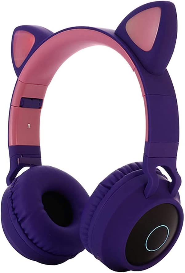 KLJKUJ Cute Cat Ear Bluetooth 5.0 Headphones Foldable On-Ear Stereo Wireless Headset with Mic LED Light Support FM Radio/TF Card/Aux in for Smartphones PC Tablet Purple
