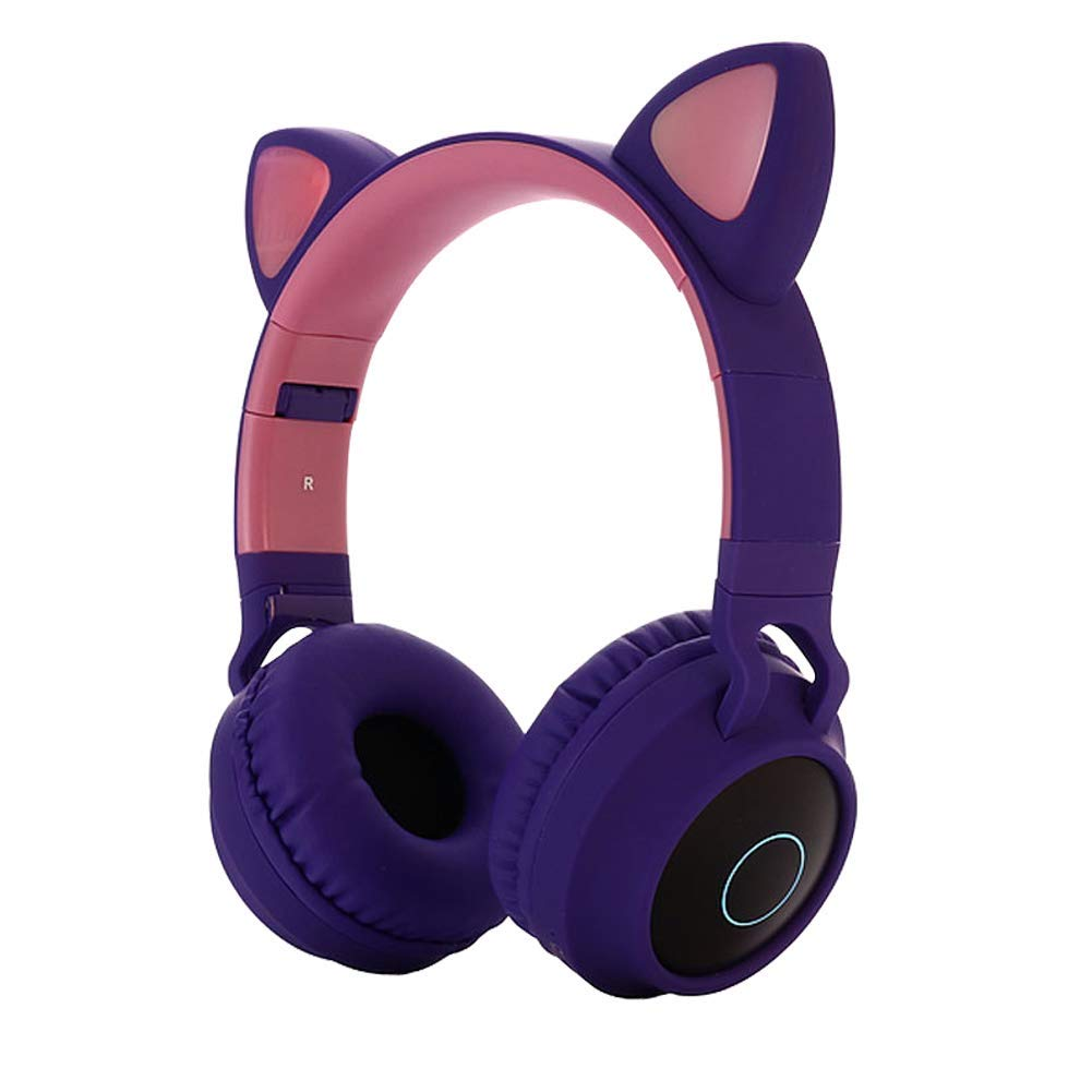 RONSHIN Headset Cute Cat Ear Bluetooth 5.0 Headphones Foldable On-Ear Stereo Wireless Headset with Mic LED Light Support FM Radio/TF Card/Aux in for Smartphones PC Tablet Purple