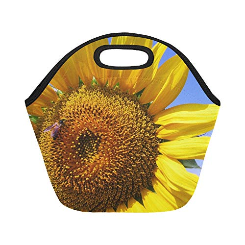 Insulated Neoprene Lunch Bag Sunflower Honeybee Flower Yellow Blossom India Large Size Reusable Thermal Thick Lunch Tote Bags For Lunch Boxes For Outdoors,work, Office, School