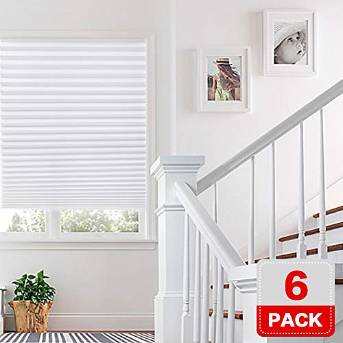 H.Versailtex 6 x White Affordable Instant Temporary Pleat Paper Blinds, Provides Instant Security, Privacy & Style, Quick Fix & Easy to Install, 36' x 72'