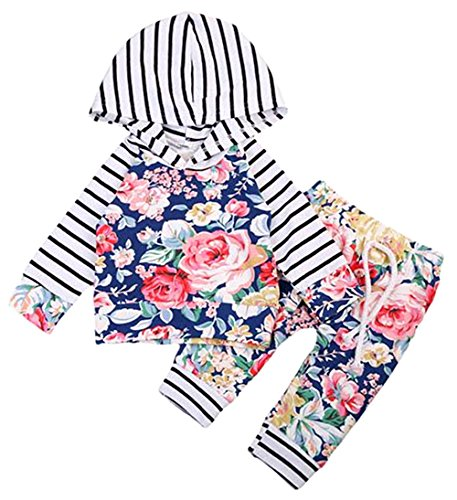2Bunnies Baby Girl Toddler Striped Hoodies with Pocket Floral Pant Set Leggings 2 Piece Outfits (Striped, 0-6 Months)
