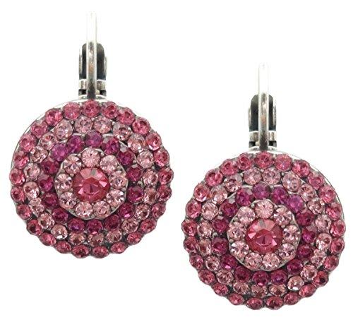 Mariana Saba Swarovski Crystal Silvertone Earrings Fuchsia Pink Pave Circle 5022