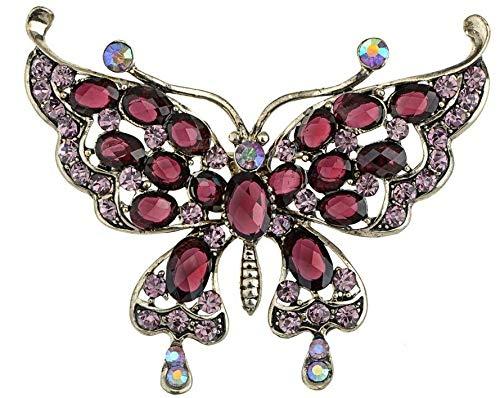 (Large Silver White Filigree Butterfly Crystal Rhinestone Brooch Pin Jewelry Pin (Amount - B1010))